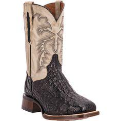 "Dan Post Cowboy Certified Mens Black Caiman Skin Denver 11"""" Cowboy Boots"