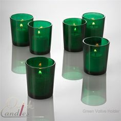 Green Candle Holders | Glass Votive Holder | Green Colored Glass