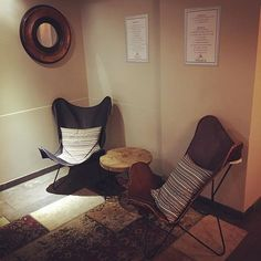 #helsink #finland #restaurant #manala #lepakkotuoli #lobby #decor #rustic #minimal Butterfly Chair, Finland, Corner Desk, Minimalism, Loft, Restaurant, Rustic, Inspiration, Furniture