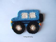 """Learn how to crochet jeep - this small project will make every little boy (or even girl) happy. It is a nice addition to every hat or any toddler garment. Crochet jeep applique pattern. ~ about 3.5"""" wide"""