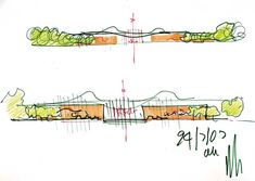 Here are the concept sketches Renzo Piano did in envisioning the new California Academy of Sciences. Although loose, these drawings . Renzo Piano, Architecture Concept Diagram, Urban Architecture, Landscape And Urbanism, Landscape Drawings, Parti Diagram, Science Sans, Croquis Drawing, Natural Science Museum