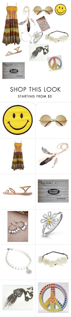 """""""Flower Child"""" by anna-terrell ❤ liked on Polyvore featuring ZeroUV, Ancient Greek Sandals, Bling Jewelry, Helix & Felix and Halloween"""