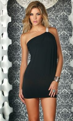 Cadiz - One shoulder mini dress with rhinestone strap