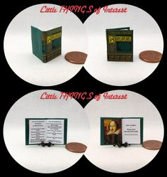 Purchase $50.00 or more and receive free shipping. Use Coupon Code: 50FREESHIP  The Works of William Shakespeare miniature book opens, has 12 pages and measures approximately 7/8 of an inch high by 3/4 of an inch wide. The title is prominent on the spine so it will look GREAT open or closed. All my books that are 1/12 scale have miniature hard covers.Most of my miniature books are readable BOOKS. They are printed on both sides of the page with a readable passages drawn from th...
