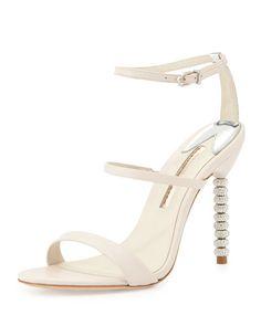 SOPHIA WEBSTER Sophia Webster Rosalind Crystal-Heel Leather Sandal, Nude. #sophiawebster #shoes #sandals