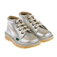 Kickers Metallic Silver Leather Boots
