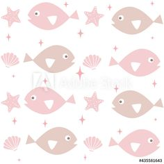 cute lovely seamless vector pattern background illustration with cartoon fishes, starfishes, stars and seashell by Alice Vacca