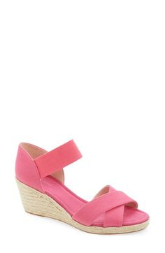 Nine West 'Renu' Espadrille Wedge Sandal (Women). This wedge comes in pink, black, or white and is a great height for women who can't wear high wedges but still want to have the look and style of the high wedge.