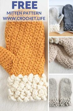 I love this free crochet mitten pattern. It& so simple, but the resulting set of mittens is so cute--and snuggly, it& a perfect winter crochet project! Crochet Mittens Pattern, Diy Crochet Patterns, Crochet Fabric, Crochet Gloves, Crochet Scarves, Crochet Designs, Crochet Ideas, Crocheting Patterns, Crochet Blankets