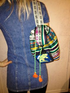 VNTG Colorful Woven Mini Backpack by thatVideoVAMPvintage on Etsy, $16.20