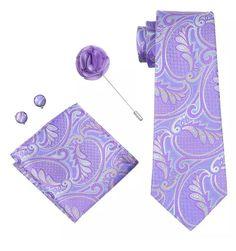 Men's Coordinated Silk Tie Set - Lavender Floral – Uylee's Boutique
