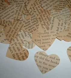 500 Vintage Hearts - Book Themed Party, Shower and Wedding Table Confetti - Hand Punched from Aged Pages. $10.00, via Etsy.