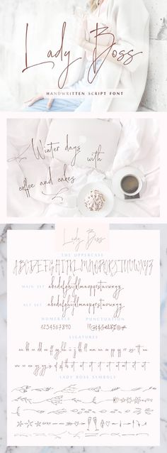 Lady Boss script font + Extras by IraDvilyuk. With this tender feelings, I want to present you Lady Boss script a delicate, feminine, modern handwritten font. Its hand look style makes it perfect for use in all your design projects be it logos, signatures, labels, packaging design, blog headlines. Also, it will look great in mugs, cards, gorgeous typographic designs, wedding stationery and much more. affiliate