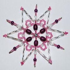 Purple beaded snowflake Beaded Christmas Ornaments, Snowflake Ornaments, Christmas Snowflakes, Beaded Snowflake, Christmas Things, Projects To Try, Crafts, Stars, Xmas