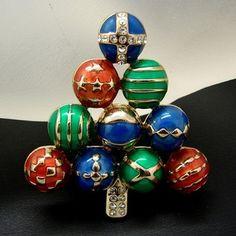 Vintage Jewel Tone Christmas Tree Ornament Pin Brooch Colored Rhinestones | eBay