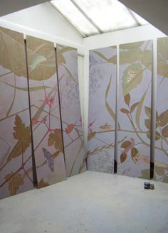 """PAINTED CEILING - """"Leaves of Grass"""" 2013 - A new, 21 M² painted ceiling in six panels. To be inserted between the ceiling beams of a private residence in Bergen NH - Peter Korver   Amsterdam"""