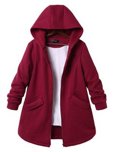 Casual Pure Color Hooded Pockets Coats for Women fashion christmas carnival blackfriday big sale clearnce fashion outfits fashion trends fashion… – Winter Coat Mode Emo, Chic Outfits, Fashion Outfits, Fashion Fashion, Color Fashion, Fashion Quotes, Coats For Women, Clothes For Women, Plus Size Outerwear