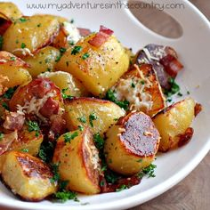 My Favorite Things: Oven Roasted Bacon, Garlic and Parmesan Potatoes from My Adventures in the Country