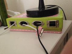 """bedside charging station made with washi tape, an old Birchbox, and some scrapbook """"frame"""" embellishments I got on clearance. Upcycle Home, Repurpose, Reuse Containers, Mummy Crafts, Cord Organization, Upcycled Crafts, Diy Arts And Crafts, Diy Storage, Washi Tape"""