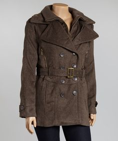 Brown Belted Peacoat - Plus | zulily