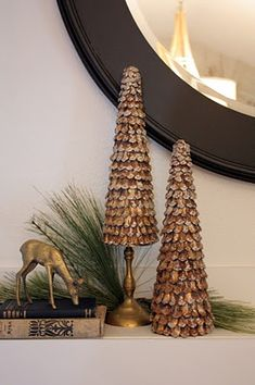 cut up pinecones and glue the pieces to a styrofoam cone--easy and cute
