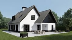 Love the black cladding of this chalet bungalow/house. Style At Home, House Cladding, Dutch House, Villa, Modern Farmhouse Exterior, Scandinavian Home, Cottage Homes, Future House, Building A House