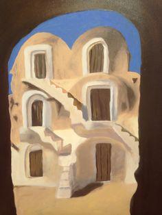 Peinture à l huile sur toile. Maisons traditionnelles du sud Tunisien.