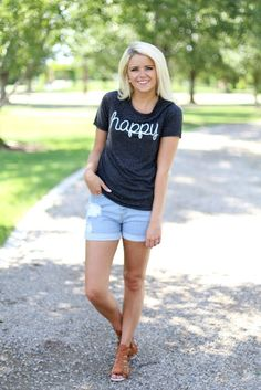Charcoal 'Happy' Tee - Bella Ella Boutique
