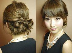 結婚式の髪型のマナーでのアップスタイルの参考画像