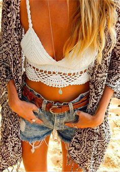 """That's what I was wearing last time I was here"" - Impress your friends, show them your style. They'll discover your look next time they come by -- ➤ ♥ California Hippie Indian style short leather surf"