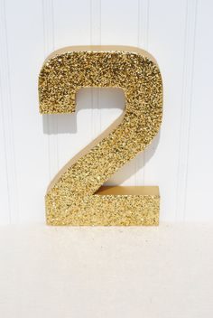 Gold Glitter Stand Up Decorative Birthday Numbers, Graduation, Wedding Reception Table Numbers, Photo Prop