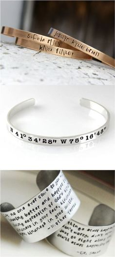 Personalize a bracelet with your name, initials, a date, even coordinates! Whatever you're looking for, you can have it made by one of our makers | Made on Hatch.co: https://www.hatch.co/categories/jewelry/bracelets