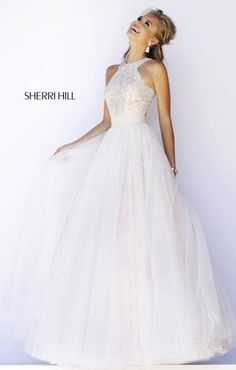 Sherri Hill 32218 Sherri Hill 32218 has a high neckline and keyhole back. The bodice of this gown is lace and beading that looks so elegant. Sherri Hill 32218 has a semi-full tulle skirt that gives you that elegant and sweet look! Deb Dresses, Grad Dresses, Pageant Dresses, Dance Dresses, Pretty Dresses, Homecoming Dresses, Formal Dresses, Dress Prom, Sherri Hill Prom Dresses