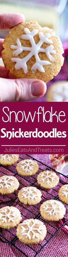 Snowflake Snickerdoodles ~ Festive Snickerdoodle Cookies for the Holiday Season with Snowflakes Piped on them in Icing! via @julieseats