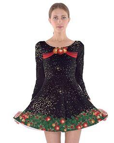 8c2ce277b418 CowCow Womens Christmas Xmas Santa Claus Snowman Winter Long Sleeve Skater  Dress at Amazon Women's Clothing store: