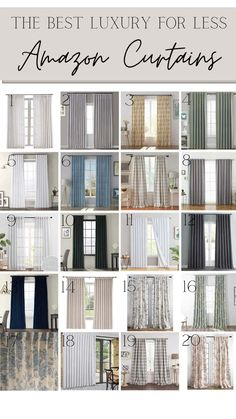 A round up of the best Amazon curtains and window shades with tips for how to hang curtains and choose the right length for a room.