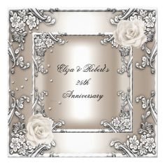 25th Anniversary Wedding Cream Rose Silver Party