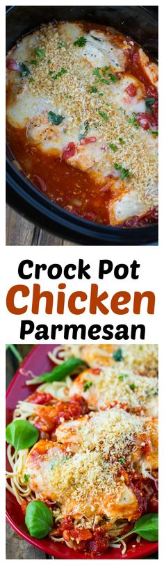 Crock Pot Chicken Parmesan with a crispy Panko Crumb topping.