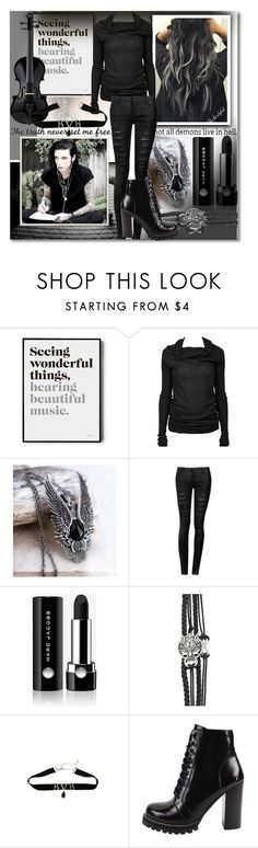 """I Wanna Sing With...♥"" by isabeldizova ❤ liked on Polyvore featuring Rick Owens, Marc Jacobs, Jeffrey Campbell, music, black, BLACKVEILBRIDES and andyblack"