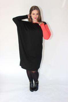 CONTRAST DRESS - BLACK/CORAL