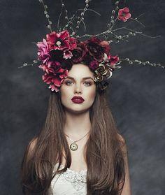 Flower headpiece, floral headdress, headpiece wedding, fascinator, hippie f Wedding Headband, Flower Crown Wedding, Bridal Hair, Floral Headdress, Flower Headpiece, Bridal Headpieces, Fascinators, Fascinator Hats, Floral Headbands