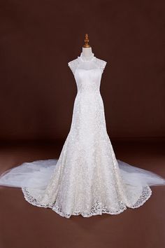 Lace High Collar A-line Chapel Train Wedding Dress