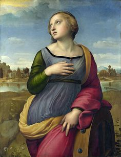 Raphael, 'Saint Catherine of Alexandria' ca 1507. The pigment analysis shows a rich palette of Raphael's usual pigments such as ultramarine, azurite, lead-tin yellow and ochres.