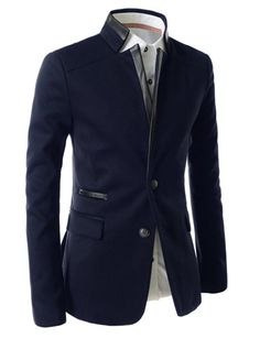 Showblanc(SBLPJ03) Man Slim Fit Chinese Collar Leather Point Casual Blazer NAVY US L(Tag size XXXL)