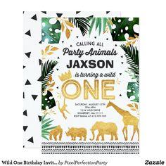 Wild One Birthday Invitation Jungle Animals Party - invitations custom unique diy personalize occasions Jungle Theme Birthday, Wild One Birthday Party, Jungle Party, Animal Birthday, 1st Boy Birthday, First Birthday Parties, First Birthdays, Jungle Safari, Birthday Banners