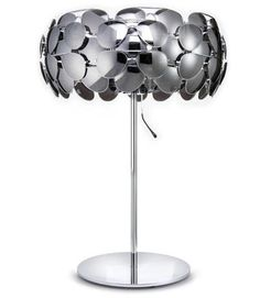 A lamp shade made of 40 mirrored aviator glasse