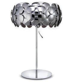 A lamp shade made of 40 mirrored aviator glasse