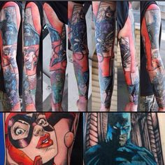 Jim Lees comic book sleeve tattoo, done by #kristattooo, base in MODERN INK FREMANTLE. Thanks for looking.