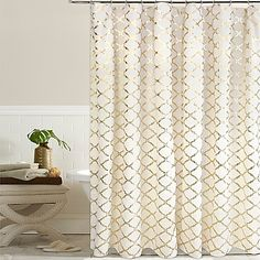 Update your bathroom with the regal-looking Golden Gate Shower Curtain. This elegant poly-cotton curtain completes any bathroom with its unique and contemporary gold foil print. Brightens any décor.