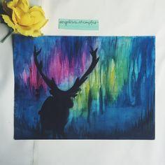 Deer in the northern lights Deer, Northern Lights, Art Projects, Photo And Video, Artwork, Painting, Instagram, Art Designs, Work Of Art
